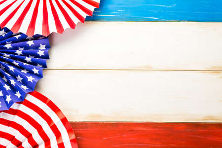 White, blue and red decorations to celebrate July 4th. Stock Photo - 41065586