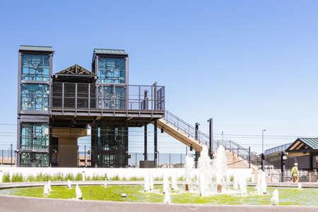 greenwood: Greenwood Village, Colorado, USA-June 8, 2015. Arapahoe at Village Center light rail station.