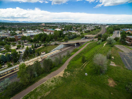 littleton: Aerial view of Downtown Littleton light rail station. Editorial