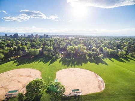 residential neighborhood: Aerial view of residential neighborhood with view to the mountains.