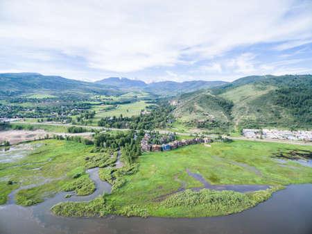 colorado river: Aerial view of Colorado river at scienic view near I70. Stock Photo