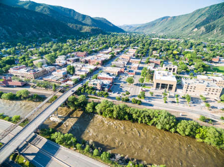 Glenwood Springs, Colorado, USA-June 20, 2015. Aerial view of downtown Gleenwood Springs in the summer. Editorial