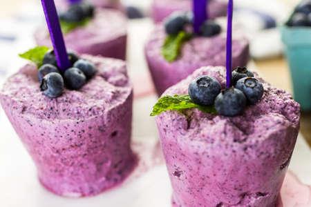 paletas de hielo: Paletas de helado de arándanos hechas en casa hechas en vasos de plástico.