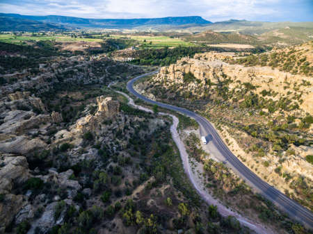 arroyo: Aerial view of mountains at Grand Mesa Scenic Byway near Grand Junction, Colorado.