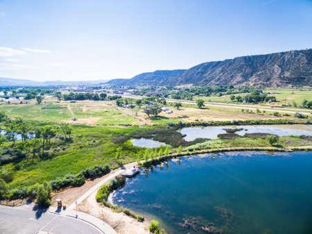 colorado river: Aerial view of rest area near Colorado River at Rifle, Colorado.