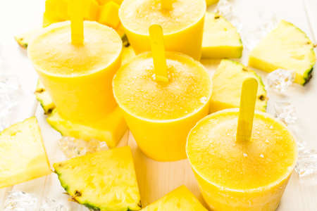 low calorie: Homemade low calorie popsicles made with mando, pineapple and cocconut milk.