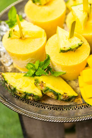 low  calorie: Homemade low calorie made with mando, pineapple and cocconut milk at the summe rpicnic. Stock Photo