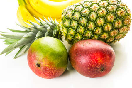 tropical fruits: Organic tropical fruits on a white background.