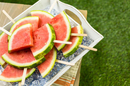 Yummy watermelon slice for refreshing treat at the summer picnic.