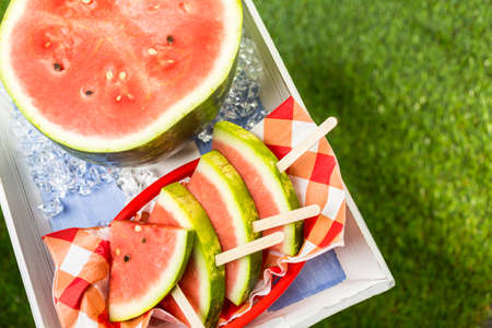 watermelon slice: Yummy watermelon slice for refreshing treat at the summer picnic.