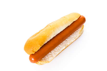 hot dog: Traditional hot dogs on a white hot dog bun on a white background. Stock Photo