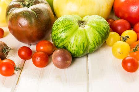 fall harvest: Organic heirloom tomatoes from urban farm.