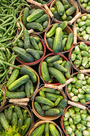long bean: Local produce at the summer farmers market in the city. Stock Photo