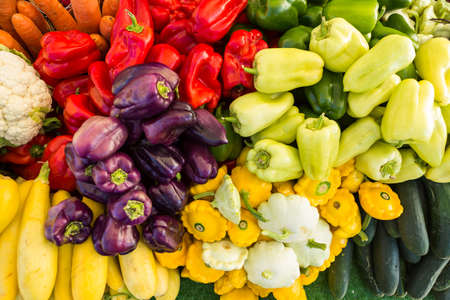 piperaceae: Local produce at the summer farmers market in the city. Stock Photo