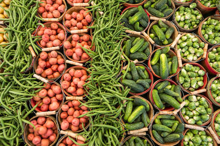 farmers: Local produce at the summer farmers market in the city. Stock Photo