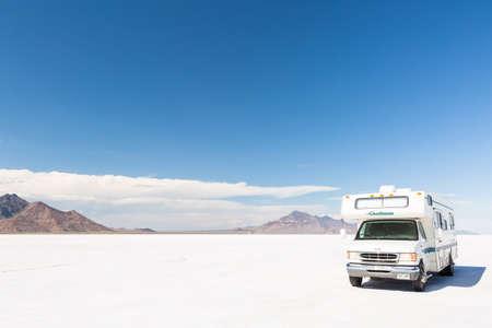recreational vehicle: Bonneville, Utah, USA-August 5, 2015. Driving motorhome on Bonneville Salt Flats, Utah.