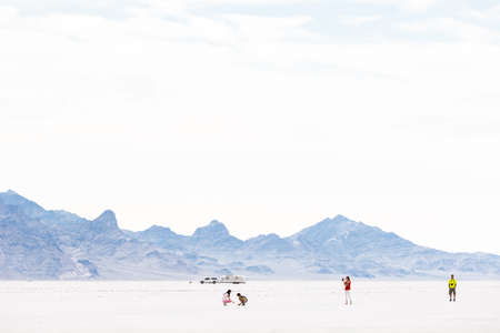 airstream: Bonneville, Utah, USA-August 3, 2015. Summer evening at Bonneville Salt Flats, Utah. Editorial