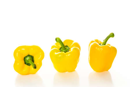 Bell peppers on a white background.