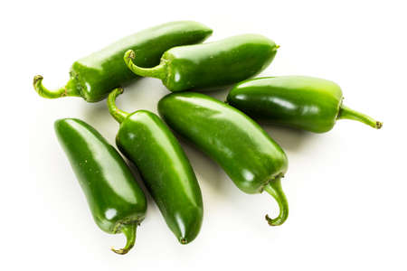 jalapeno: Jalapeno peppers on a white background. Stock Photo