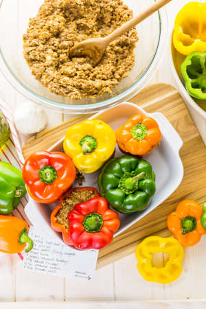 piperaceae: Low calorie stuffed peppers with ground turkey and white rice.