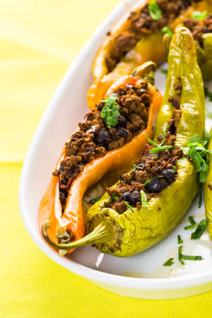 low calorie: Low calorie chipotle beef & bean stuffed chile peppers.