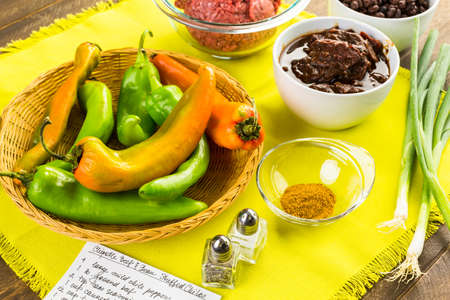piperaceae: Low calorie chipotle beef & bean stuffed chile peppers.