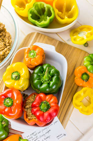 Low calorie stuffed peppers with ground turkey and white rice.