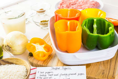 the calorie: Low calorie stuffed peppers with ground turkey and white rice.