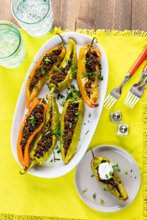 calorie: Low calorie chipotle beef & bean stuffed chile peppers.