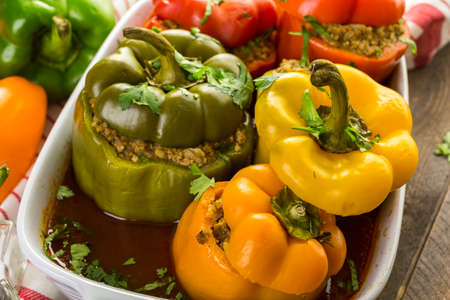 Low calorie chipotle beef & bean stuffed chile peppers.
