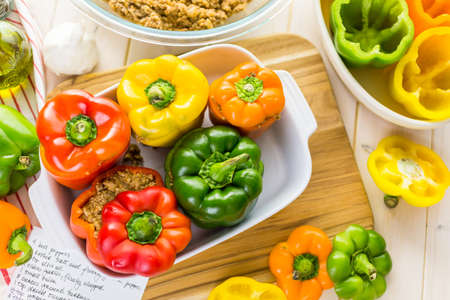low  calorie: Low calorie stuffed peppers with ground turkey and white rice.