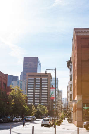 renovated: Denver, Colorado, USA-September 7, 2015. View from renovated Union Station in Downtown Denver, Colorado.