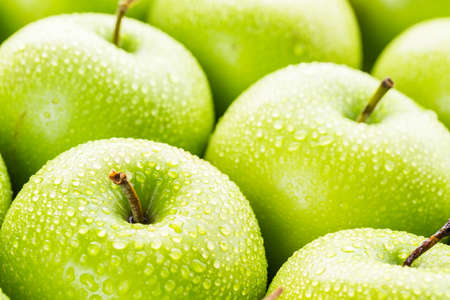 granny smith: Close up of organic Granny Smith apples. Stock Photo