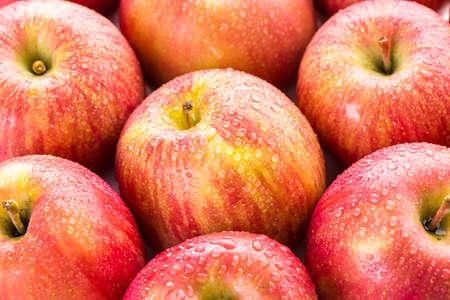 Close up of organic Fuji apples.