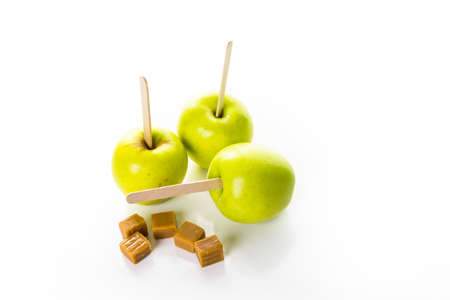 Apples ready to deeped in fresh caramel. Stock Photo