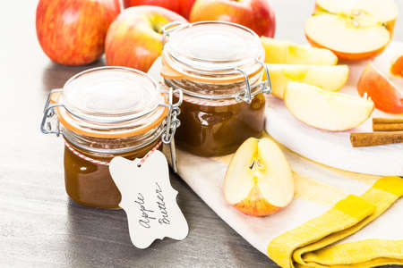 Homemade apple butter prepared from organic apples.