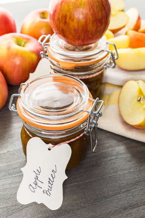 Homemade apple butter prepared from organic apples.