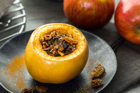 pecans: Organic baked apples with raisins and pecans.
