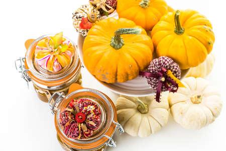 Homemade pumpkin butter made with organic pumpkins. Imagens - 45971301