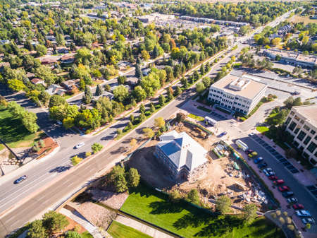 greenwood: Greenwood Village, Colorado, USA-October 10, 2015. Aerial view of business park.