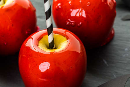 taffy: Handmade red candy apples for Halloween.