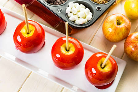 Handmade red candy apples for Halloween.