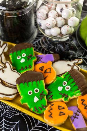 Variety of sweets prepared as Halloween treats.