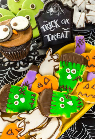 baked treat: Variety of sweets prepared as Halloween treats.