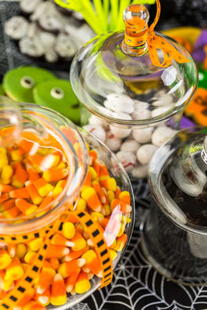 Variety of sweets prepared as Halloween treats.
