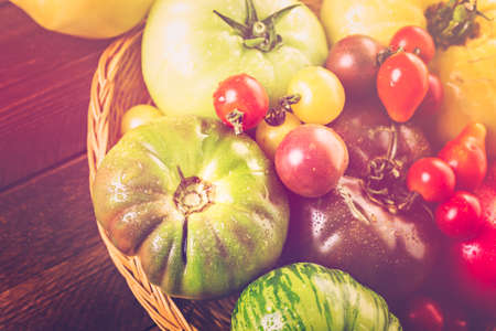 heirloom: Organic heirloom tomatoes from backyard farm. Stock Photo