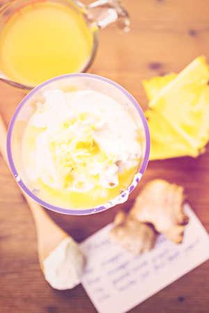 yogurt: Freshly made pineapple ginger smoothie with Greek yogurt and juice.