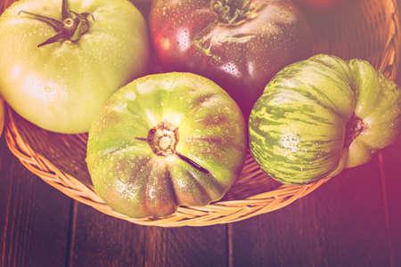 heirloom: Organic heirloom tomatoes from backyard farm. Stock Photo