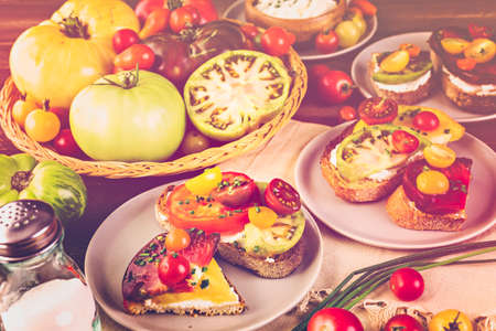 heirloom: Tomato sandwich made with organic heirloom tomatoes. Stock Photo