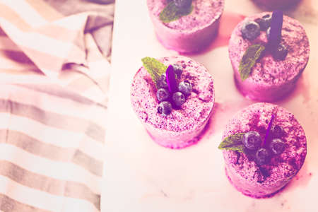 plastic made: Homemade blueberry ice made in plastic cups. Stock Photo